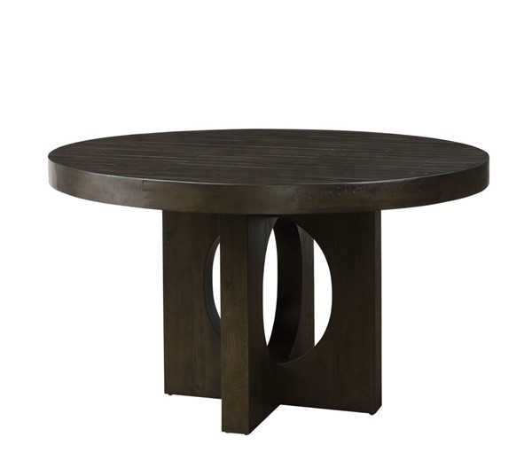 Acme Furniture Haddie Distressed Walnut Wood Round Dining Table ACM-72215