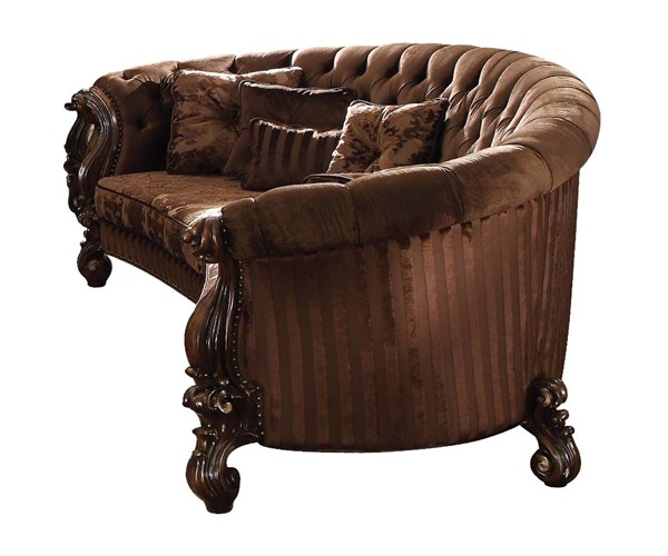 Acme Furniture Versailles Brown Oak Sofa with Five Pillows ACM-52080