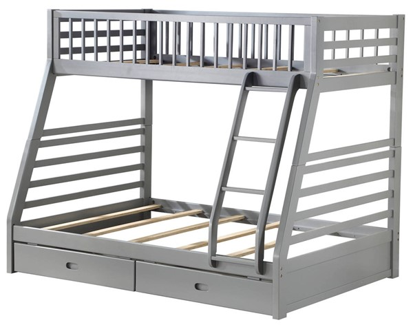 Acme Furniture Jason Gray Twin Over Full Bunk Bed with 2 Drawers ACM-37840