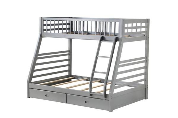 Acme Furniture Jason Gray Wood Twin over Full Drawers Bunk Bed ACM-37840