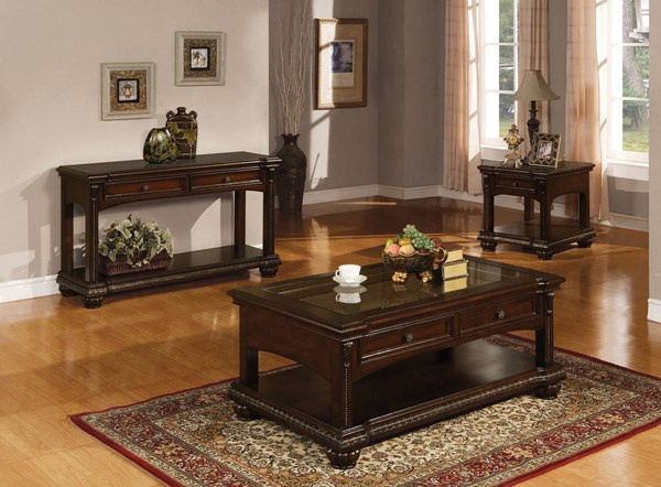 Anondale Traditional Brown Cherry Wood Coffee Table Set