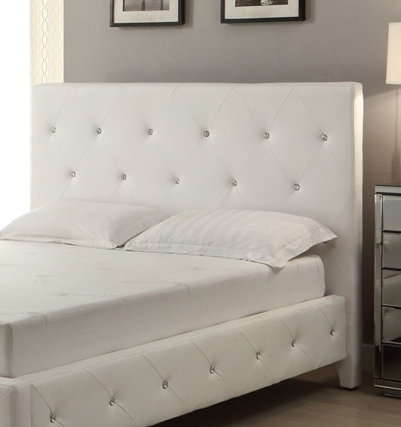 AC Pacific AC-BED16 White Tufted Queen Headboard ACP-AC-BED16-Q-WHITE-HB