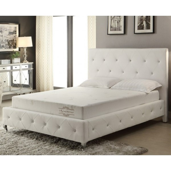 AC Pacific AC-BED16 White Queen Bed ACP-AC-BED16-Q-WHT