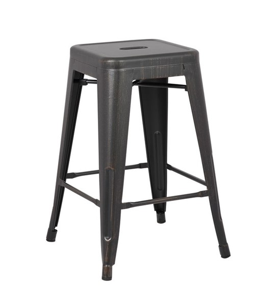 2 AC Pacific ACBS01 Distressed Black Costal Metal 24 Inch Bar Stools ACP-ACBS01-24-SMB