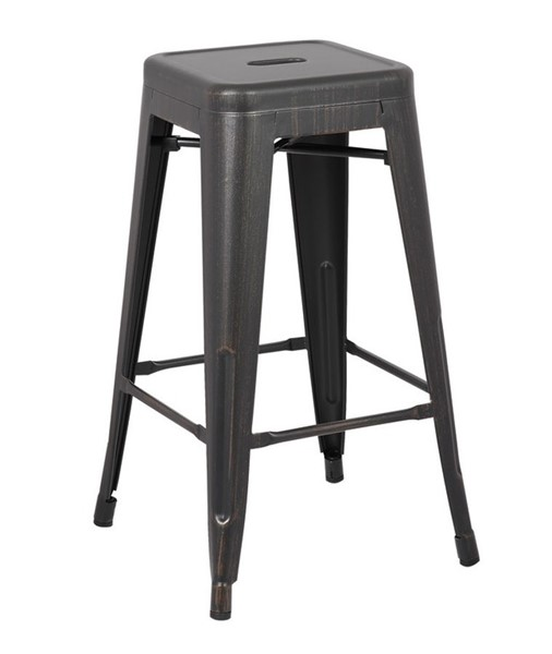 2 AC Pacific ACBS01 Distressed Black 30 Inch Indoor Outdoor Bar Stools ACP-ACBS01-30-SMB