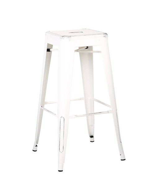 2 AC Pacific ACBS01 Distressed White 30 Inch Indoor Outdoor Bar Stools ACP-ACBS01-30-SMW