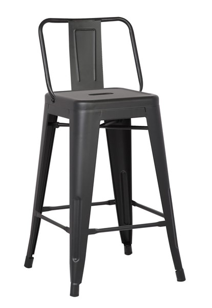 2 AC Pacific ACBS02 Matte Black Metal 24 Inch Indoor Outdoor Barstools ACP-ACBS02-24-MB