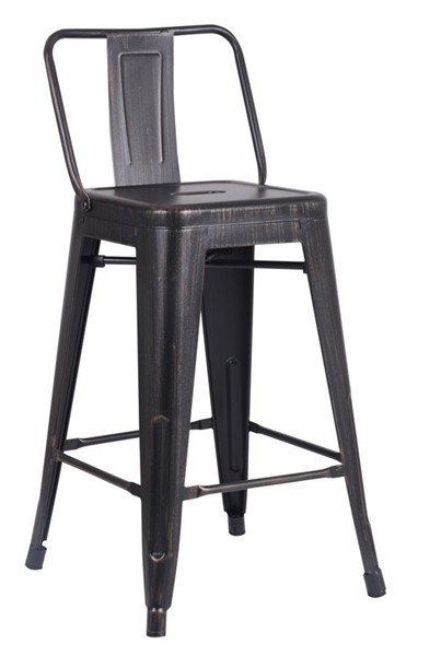 2 AC Pacific ACBS02 Distressed Black Metal 24 Inch Indoor Outdoor Barstools ACP-ACBS02-24-SMB