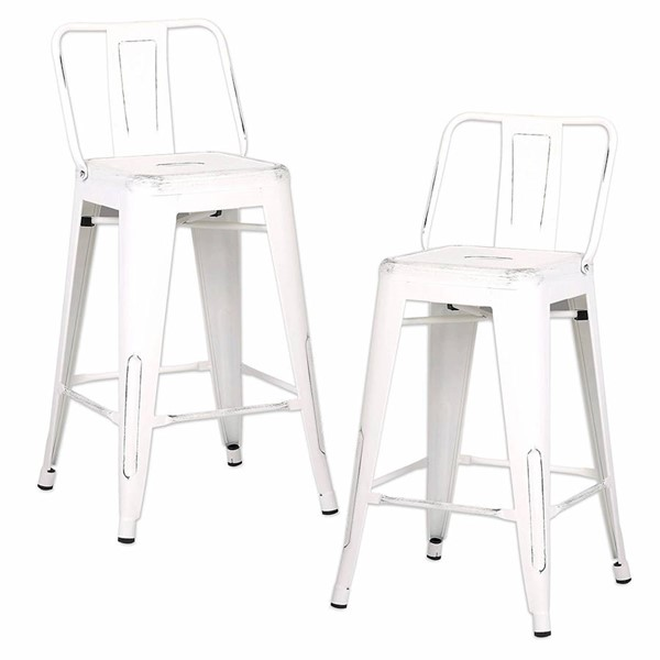 2 AC Pacific ACBS02 Distressed White Metal 24 Inch Indoor Outdoor Barstools ACP-ACBS02-24-SMW