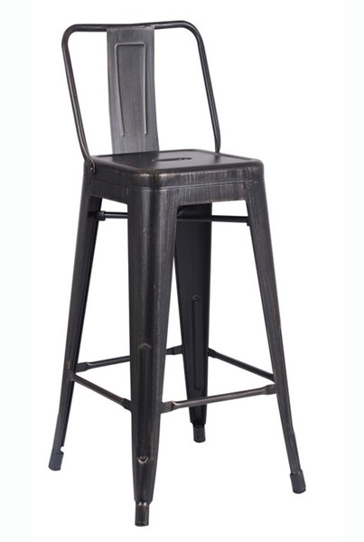 2 AC Pacific ACBS02 Distressed Black Metal Indoor Outdoor Barstools ACP-ACBS02-30-SMB