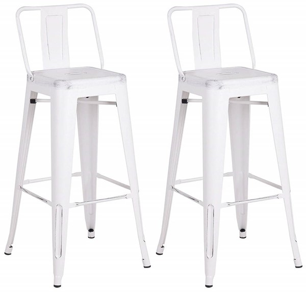 2 AC Pacific ACBS02 Distressed White Metal Indoor Outdoor Barstools ACP-ACBS02-30-SMW