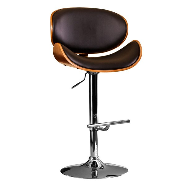 AC Pacific ACBS34 Walnut Black Adjustable Height Bar Stool ACP-ACBS34-BLACK
