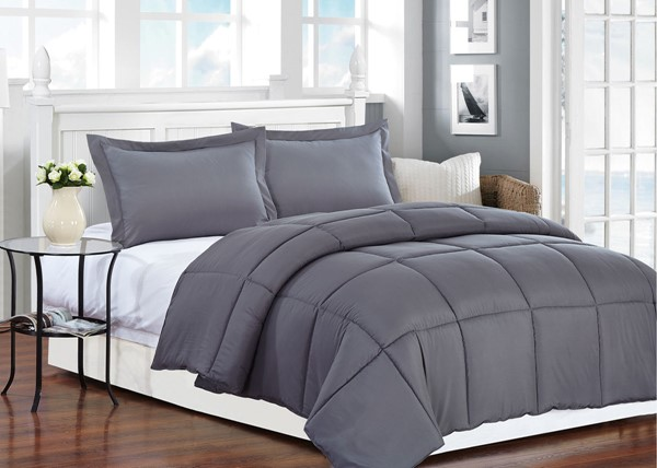 AC Pacific Comfort Grey Polyester Medium Warmth Down King Comforter ACP-COMFORT-DG-K