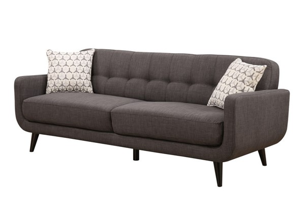 AC Pacific Crystal Charcoal Tufted Sofa with 2 Accent Pillows ACP-CRYSTAL-CHARCOAL-S
