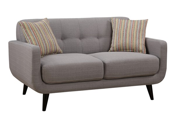 AC Pacific Crystal Gray Tufted Loveseat with 2 Accent Pillows ACP-CRYSTAL-GRAY-L
