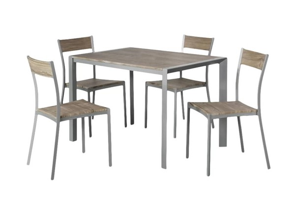 AC Pacific D-003 Weathered Brown 5pc Dining Table Set ACP-D-003-5PC