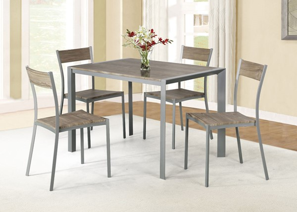 AC Pacific D003 Weathered Brown 5pc Dining Table Set ACP-D-003-5PC