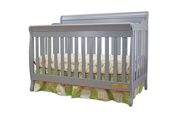AFG Baby Furniture Alice Grey Convertible Crib with Toddler Rail AFG-4689G