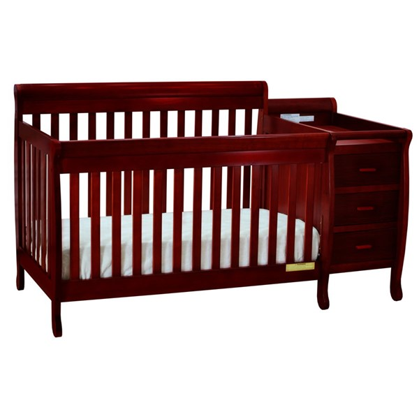 AFG Baby Furniture Kimberly Cherry Convertible Crib and Changer with Pad AFG-516C-553