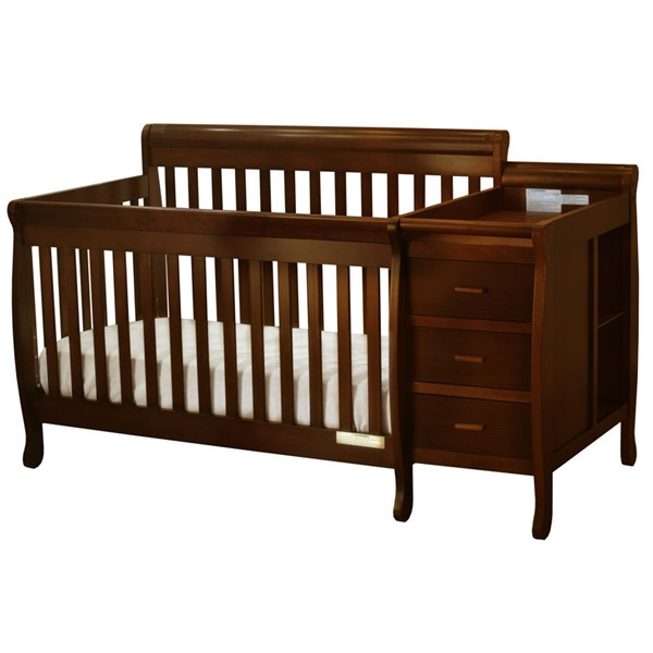 AFG Baby Furniture Kimberly Espresso Convertible Crib and Changer with Pad AFG-518E-553
