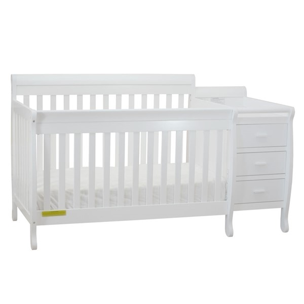 AFG Baby Furniture Kimberly White Convertible Crib and Changer with Pad AFG-519W-553