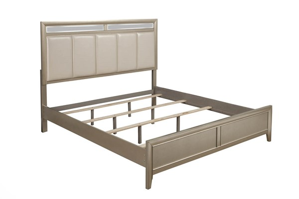 Alpine Furniture Silver Dreams Faux Leather King Platform Bed ALPN-1519-07EK