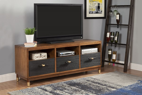 Alpine Furniture Belham Dark Walnut Black TV Console ALPN-1971-10