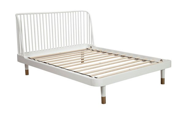 Alpine Furniture Madelyn White Slat Back Cal King Platform Bed ALPN-2010-67CK