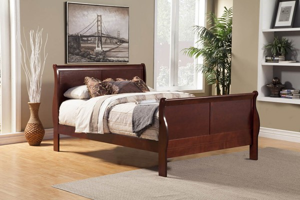Alpine Furniture Louis Philippe II Cherry Queen Bed ALPN-2700Q