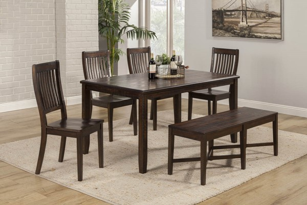 Alpine Furniture Rustica Dark Espresso 6pc Dining Set ALPN-4122