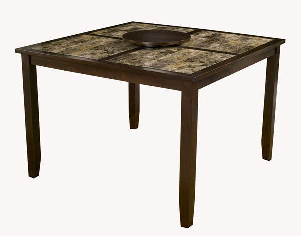 Alpine Furniture Capitola Espresso Faux Marble Large Pub Table ALPN-554-L