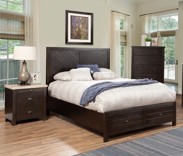 Alpine Furniture Shutter Charcoal 2pc Bedroom Set with Queen Drawer Bed ALPN-8348-81Q-BR-DWR-S1