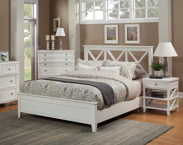 Alpine Furniture Potter White 2pc Bedroom Set with Queen Bed ALPN-955-01Q-BR-S1