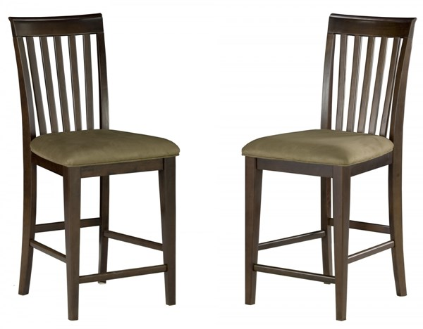 Mission Antique Walnut Solid Wood Pub Chairs w/Cappucino Seat Cushions AD771234