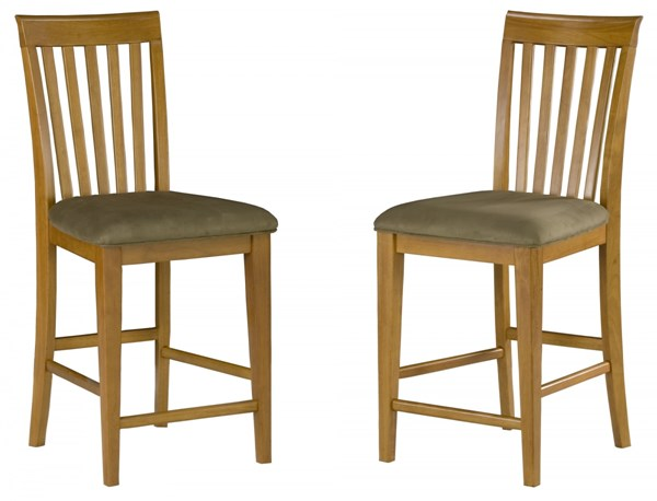 Mission Caramel Solid Wood Latte Pub Chairs w/Cappucino Seat Cushions AD771237