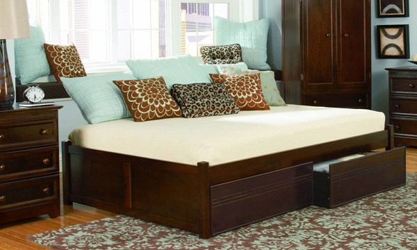 Concord Antique Walnut Solid Wood Queen Bed w/Flat Panel Footboard AP8142114