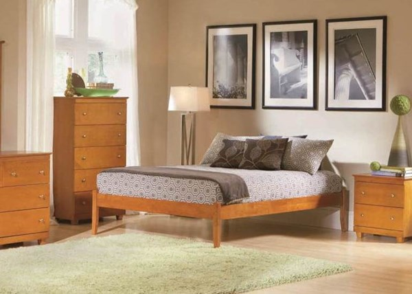 Concord Natural Maple King Bed w/Open Foot Rail & Panel Footboard AP8151005-KB