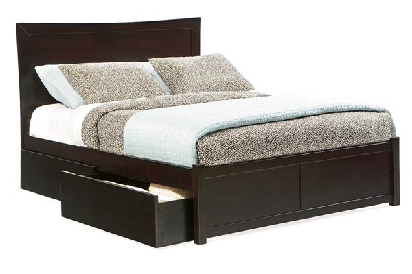 Miami Espresso Solid Wood Queen Storage Bed w/Flat Panel Footboard AP8742171