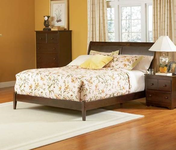 Bordeaux Antique Walnut Solid Wood Full Sleigh Bed w/Open Foot Rail AP9231004