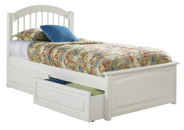 Windsor White Solid Wood Twin Bed w/Raised Panel Footboard AP9424132