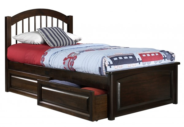 Windsor Antique Walnut Solid Wood Twin Bed w/Raised Panel Footboard AP9424134
