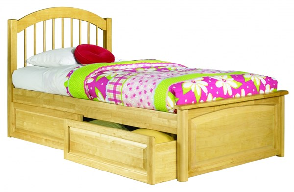 Windsor Natural Maple Solid Wood Twin Bed w/Raised Panel Footboard AP9424135