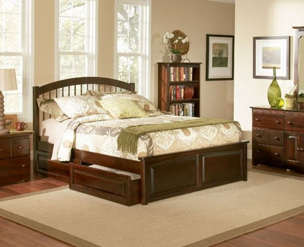 Windsor Wood Twin Bed w/Footboard & Raised Panel Under Bed Drawer AP9426134