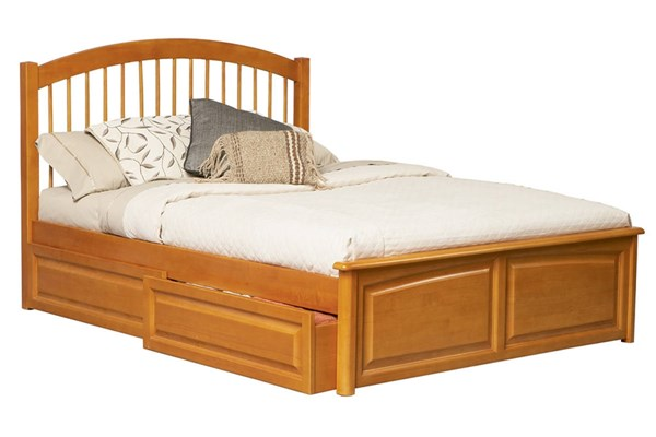 Windsor Caramel Latte Solid Wood Queen Bed w/Raised Panel Footboard AP9444137