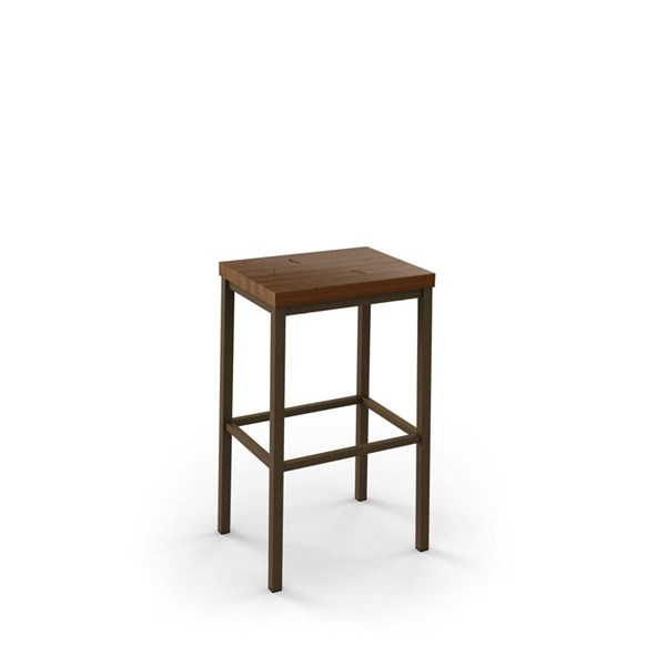 Bradley Non Swivel 26 Inch Stool (Distressed Solid Wood Seat) AMC-40038-26-MW