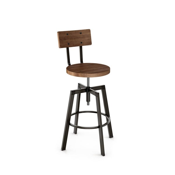 Architect Screw Stool (Distressed Solid Wood Seat And Backrest) AMC-40263-MW