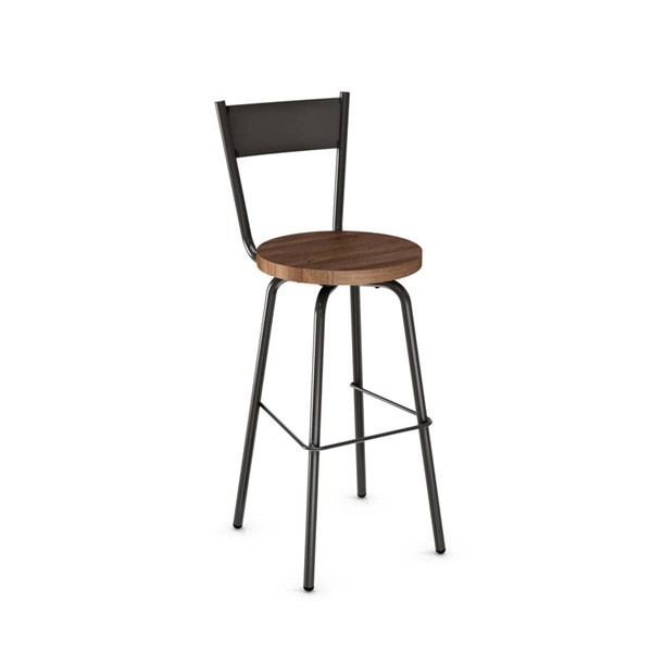 Crystal Swivel 30 Inch Stool (Distressed Solid Wood Seat) AMC-40487-30-MW