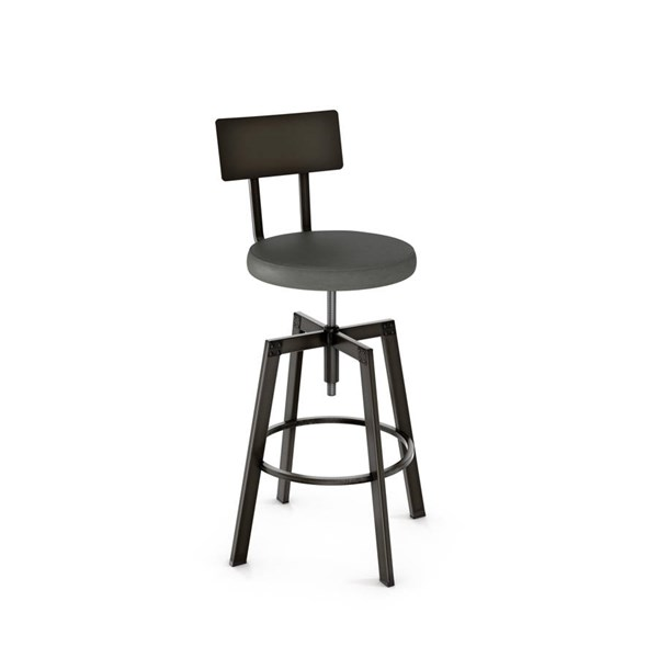 Architect Screw Stool (Upholstered Seat And Metal Backrest) AMC-40563-MF