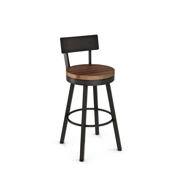 Lauren Swivel 30 Inch Stool (Distressed Solid Wood Seat & Metal Back) AMC-40593-30-MW