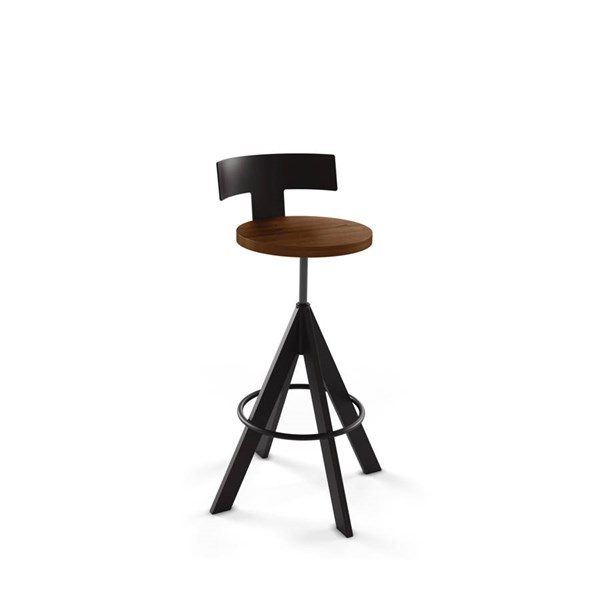 Uplift Screw Stool (Distressed Solid Wood Seat And Metal Backrest) AMC-40614-MW